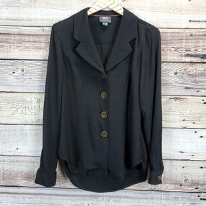 Anthropologie Maeve 4 Long Sleeve Button Top Black
